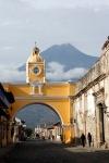 Vulcan de Agua and ochre arch