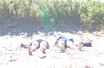 Argentina, Aguas Verdes: sunbathing.